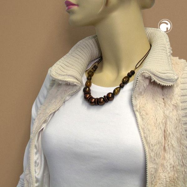 Halskette, dunkelbraun-seidig, Kordel -00125 im Preisvergleich