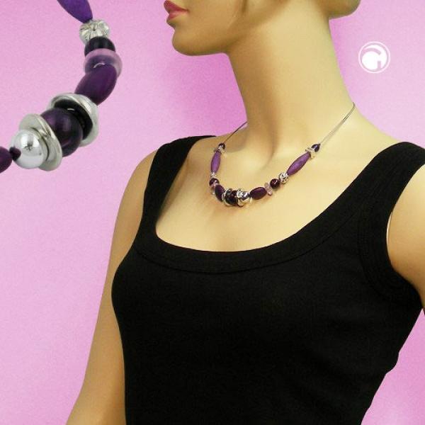 Kette, lila-marmoriert-silber, Draht -00615|GB-Schmuck-Shop