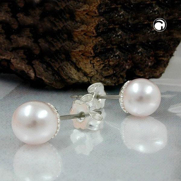 Ohrstecker Ohrringe 7mm Glasperle weißwachs-rosa Imitatperle-00873