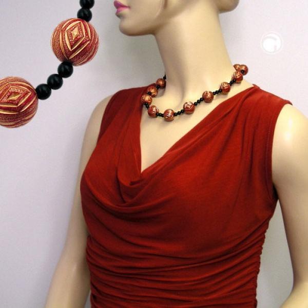 Halskette, Gravurperle rot-goldfarben, schwarz-01189