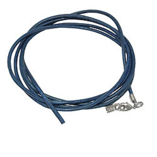 Band, Rindsleder blau gefärbt, 1x Verschluss silberfarbig-rhodiniert -02000-05 Preisvergleich