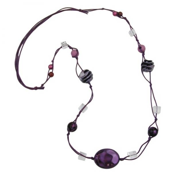 Kette, Perlen lila-seide transparent -02262|GB-Schmuck-Shop