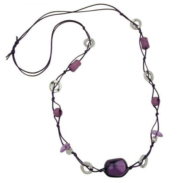 Kette, Walze lila seidig-glänzend -02583|GB-Schmuck-Shop