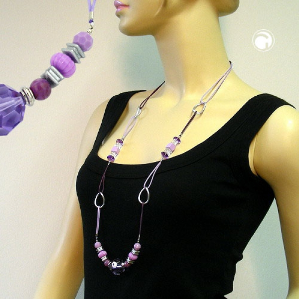 Halskette, flieder-lila mit Kordel-02596