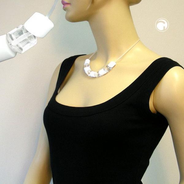 Collier, Schrägperlen weiß-transparent 45cm