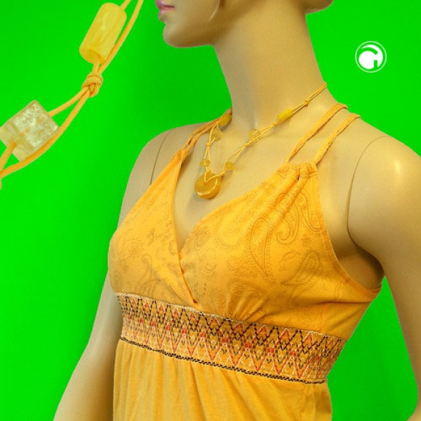 Collier, Ring, gelb-seidig, gelb-matt 50cm