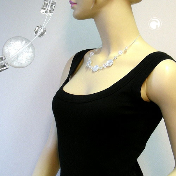Gallay Collier 3x Scheibe kristall-flitter 45cm lang
