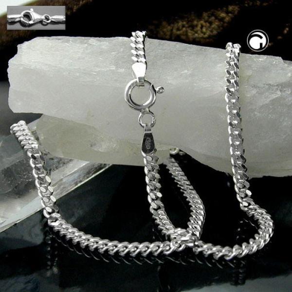 Kette Panzer 2x diamantiert Silber 925 -101801-50