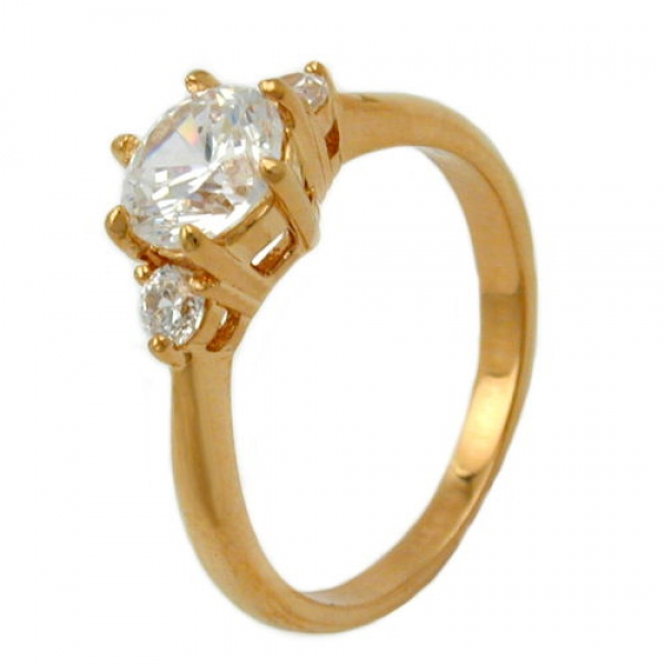 Ring, Zirkonia, gold-plattiert 3 Micron -30067-56