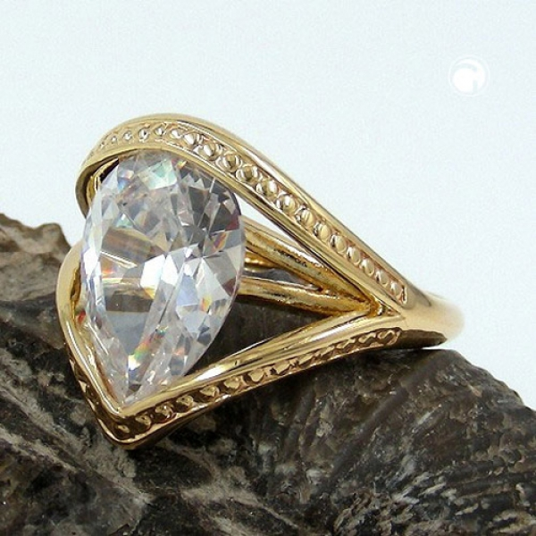 Ring, 18mm gold-plattiert Zirkonia -30197-60