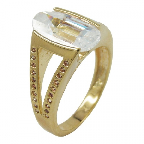 Ring 14mm gold-plattiert Zirkonia Gr. 56 -30205-56
