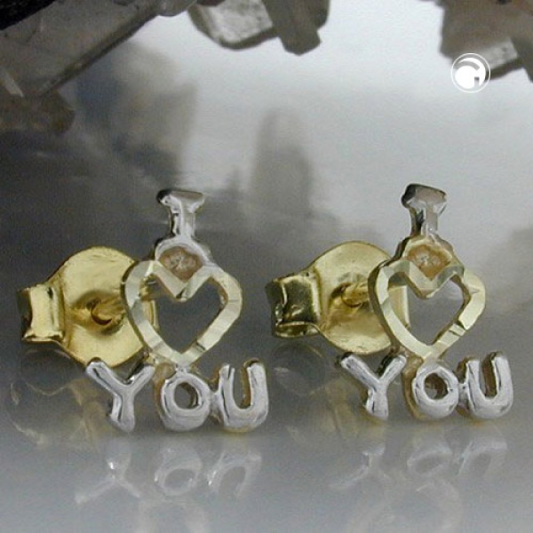 Ohrstecker 8x7mm I LOVE YOU bicolor 9Kt GOLD