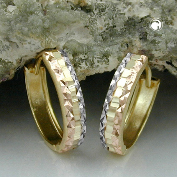 Creolen 12x3mm Klappscharnier tricolor diamantiert 9Kt GOLD