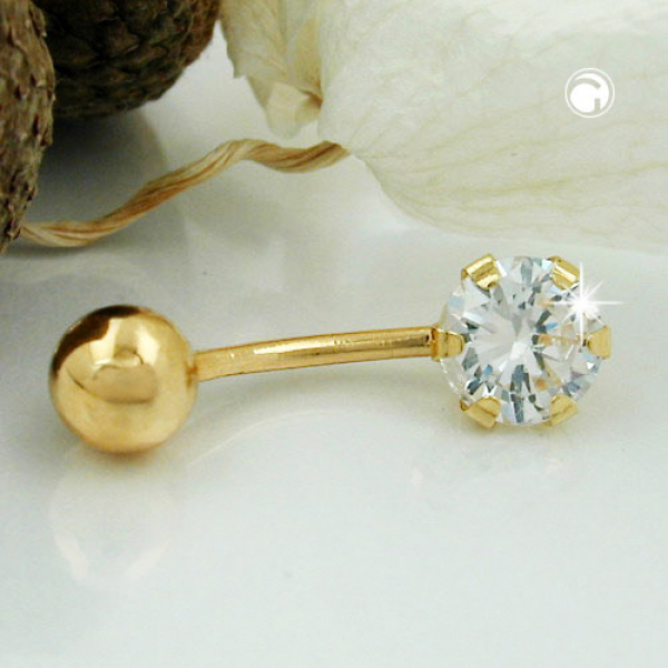 Piercing 20x6mm Banana Zirkonia 14Kt GOLD -431316