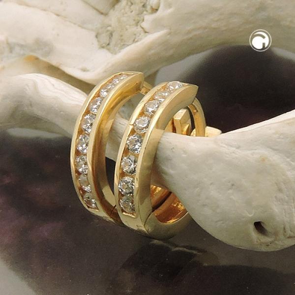 Ohrringe Creole 11x2mm Klappscharnier mit Zirkonias 9Kt GOLD -431452 Preisvergleich