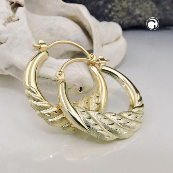 Creole, matt diamantiert glänzend, 14Kt GOLD -431457