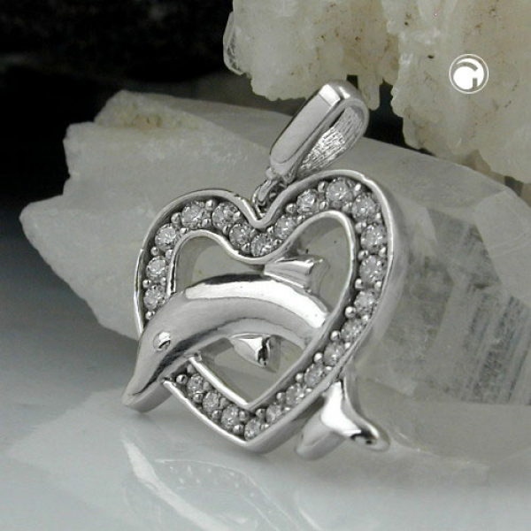 Schmuck Anhänger, Herz mit Delfin, Silber 925 -90571