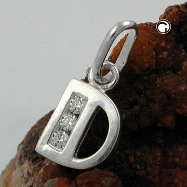 Schmuck Anhänger Buchstabe D glänzend mit Zirkonias Silber 925 -91444d