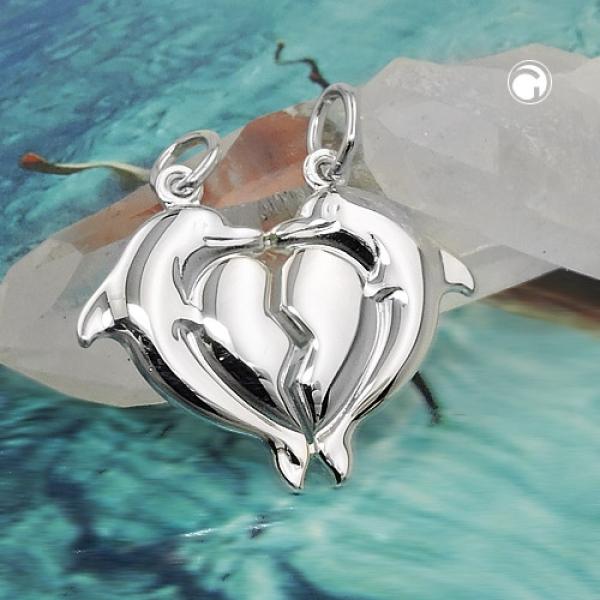 Schmuck Anhänger Doppelanhänger 23x20mm 2 Delfine mit Herz glänzend Silber 925 -91606