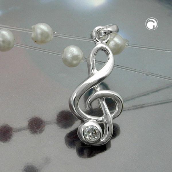 Schmuck Anhänger, Notenschlüssel, Silber 925 -91637