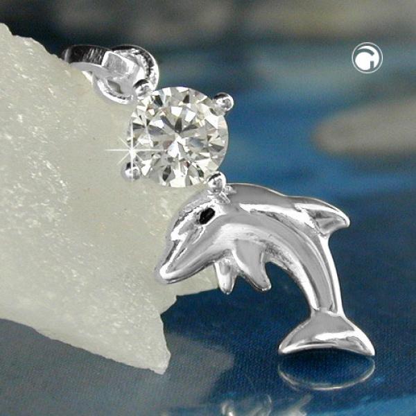 Schmuck Anhänger 16x8mm Delfin mit Zirkonia glänzend Silber 925 -91683