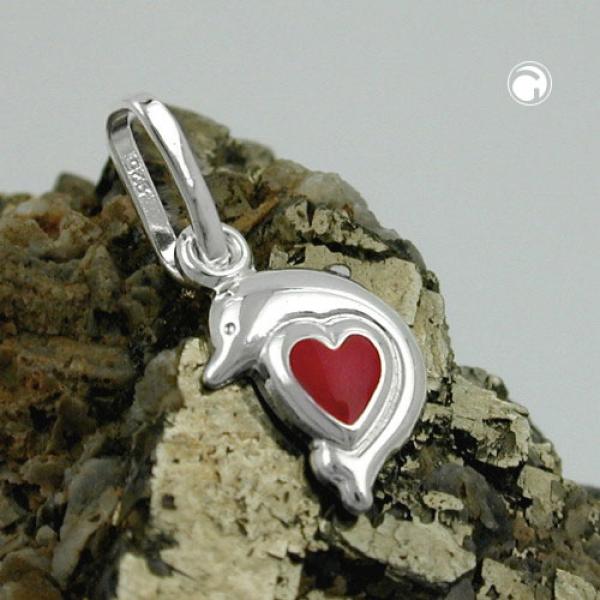 Schmuck Anhänger, Delfin, Herz rot, Silber 925 -91759