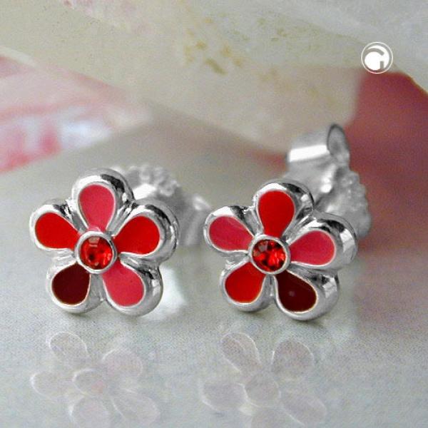 Ohrringe Stecker Ohrstecker 6,5mm Kinderohrring Blume rot-lackiert Silber 925-91961 Preisvergleich