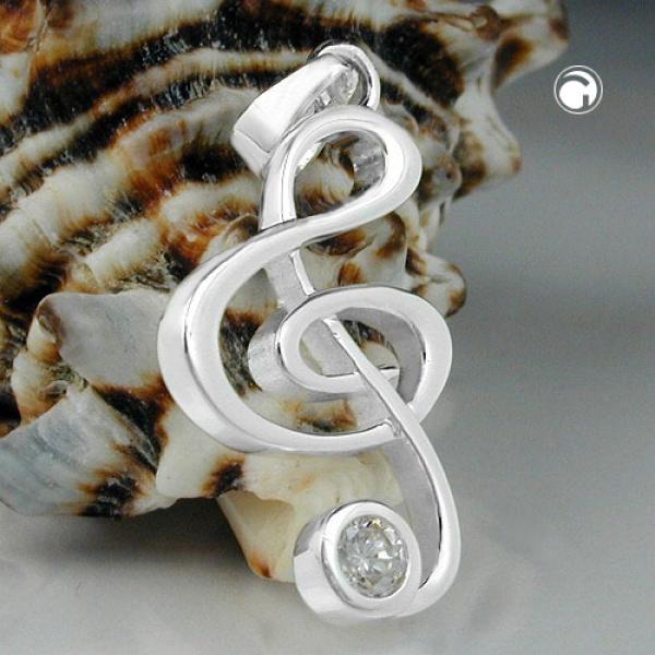 Schmuck Anhänger, Notenschlüssel, Silber 925 -92654