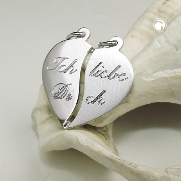 1 Frauen Partner Herz Anhänger Ich liebe Dich Kette mit Namen Gravur Silber 925