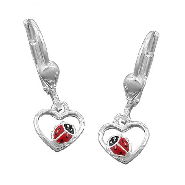 Ohrringe Brisur 22x8mm Ohrring Herz mit Marienkäfer rot-schwarz lackiert Silber 925 -93108 Preisvergleich