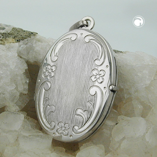 Schmuck Anhänger - Medaillon, Blumenmuster - oval - Silber 925 -93426