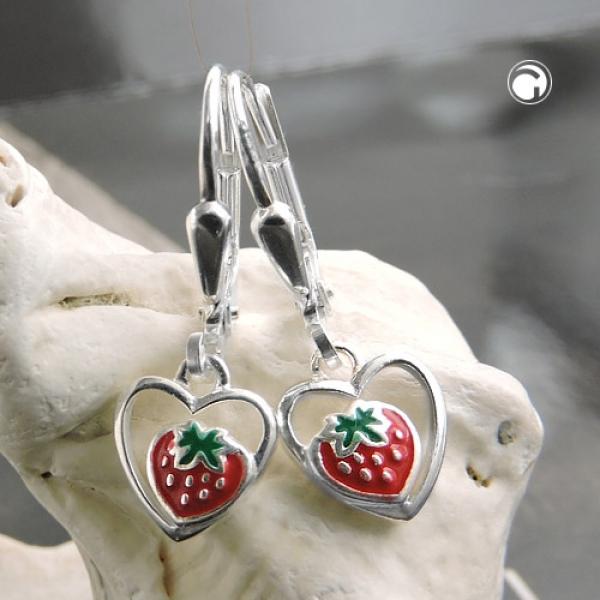 Ohrringe Brisur 22x8mm Ohrring Herz Erdbeere farbig lackiert Silber 925 -93470 Preisvergleich