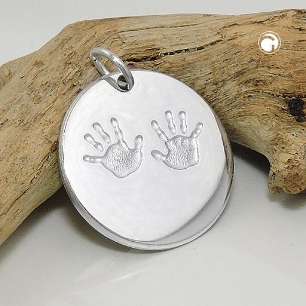 Gallay Schmuck Anhänger 22mm Gravuranhänger zur Geburt kleine Hände Silber 925 -93610