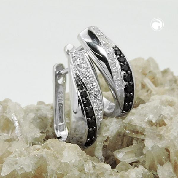 Creole Zirkonias weiß schwarz rhodiniert Silber 925 -93697