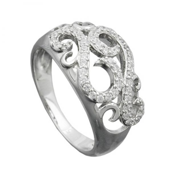 Ring 11mm floral mit vielen Zirkonias glänzend rhodiniert Silber 925 Ringgröße 60 -94048-6 Preisvergleich
