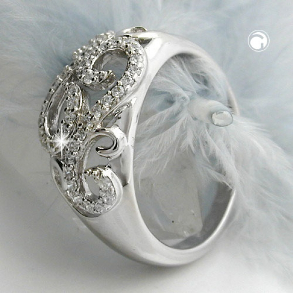 Ring 11mm floral mit vielen Zirkonias glänzend rhodiniert Silber 925 Ringgröße 60-94048-60 Preisvergleich