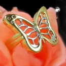 Ring Schmetterling bicolor mit Zirkonias gold-plattiert Gr. 60 -30219-60