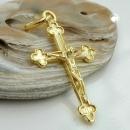 Schmuck Anhänger 26x17mm Kreuz mit Jesus glänzend 14Kt GOLD