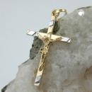 Schmuck Anhänger 22x13mm Kreuz-Jesus bicolor 9Kt GOLD