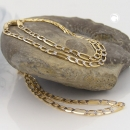 Armband, 19cm, Figaro-Panzer, bicolor, 14Kt GOLD -510003-19