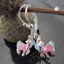 Ohrringe Brisur Pferd mit einem Horn Silber 925 -93814