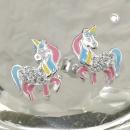 Ohrstecker Pferd mit einem Horn Silber 925 -93816